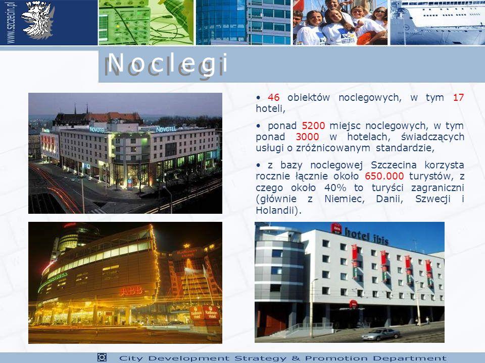 46 obiektów noclegowych, w tym 17 hoteli, ponad 5200 miejsc noclegowych, w tym ponad 3000 w hotelach, świadczących usługi o zróżnicowanym standardzie, z bazy noclegowej Szczecina korzysta rocznie łącznie około 650.000 turystów, z czego około 40% to turyści zagraniczni (głównie z Niemiec, Danii, Szwecji i Holandii).