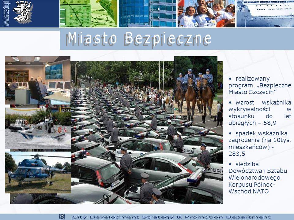 realizowany program Bezpieczne Miasto Szczecin wzrost wskaźnika wykrywalności w stosunku do lat ubiegłych – 58,9 spadek wskaźnika zagrożenia (na 10tys.