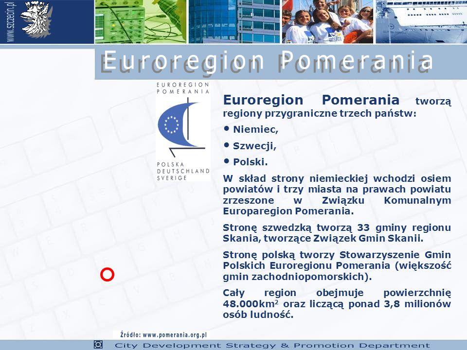 Euroregion Pomerania tworzą regiony przygraniczne trzech państw: Niemiec, Szwecji, Polski.