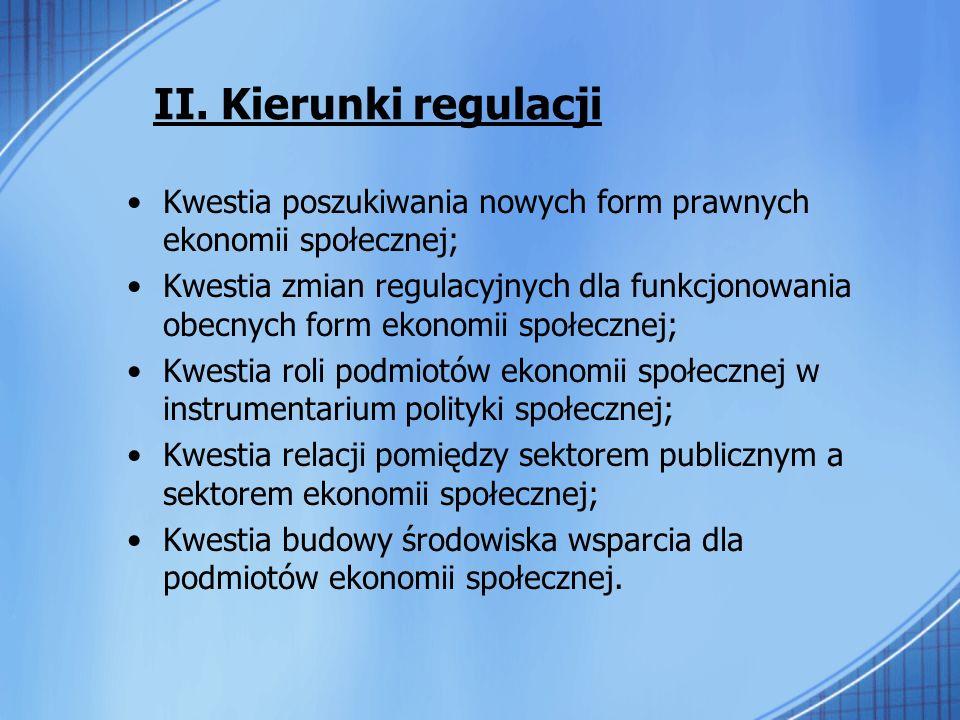 II. Kierunki regulacji Kwestia poszukiwania nowych form prawnych ekonomii społecznej; Kwestia zmian regulacyjnych dla funkcjonowania obecnych form eko