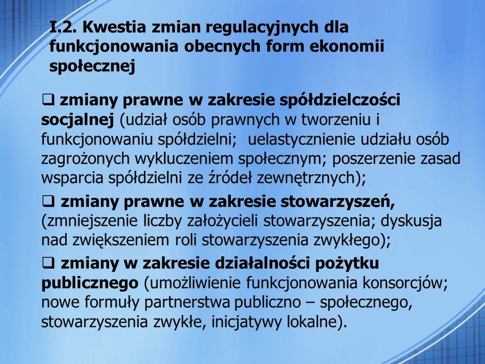 zmiany prawne w zakresie spółdzielczości socjalnej (udział osób prawnych w tworzeniu i funkcjonowaniu spółdzielni; uelastycznienie udziału osób zagroż