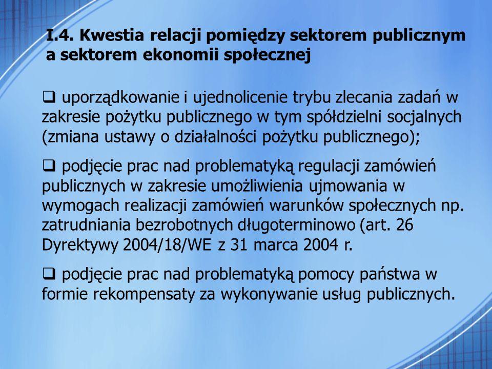 I.4. Kwestia relacji pomiędzy sektorem publicznym a sektorem ekonomii społecznej uporządkowanie i ujednolicenie trybu zlecania zadań w zakresie pożytk