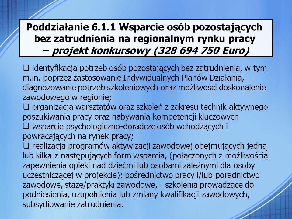 Poddziałanie 6.1.1 Wsparcie osób pozostających bez zatrudnienia na regionalnym rynku pracy – projekt konkursowy (328 694 750 Euro) identyfikacja potrz