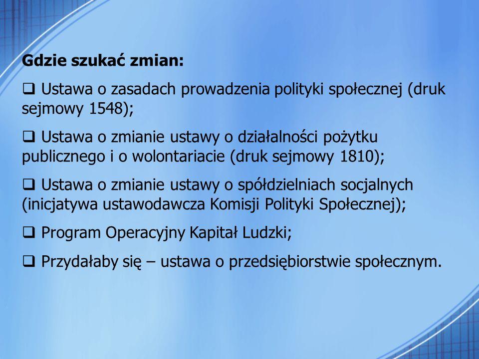 Gdzie szukać zmian: Ustawa o zasadach prowadzenia polityki społecznej (druk sejmowy 1548); Ustawa o zmianie ustawy o działalności pożytku publicznego