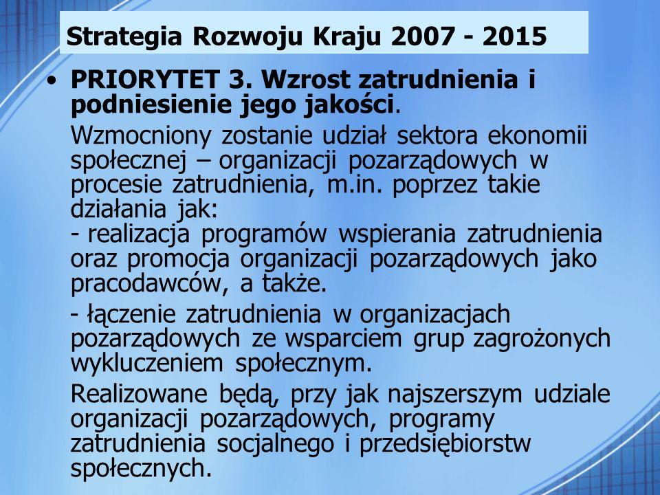 Strategia Rozwoju Kraju 2007 - 2015 PRIORYTET 3. Wzrost zatrudnienia i podniesienie jego jakości. Wzmocniony zostanie udział sektora ekonomii społeczn