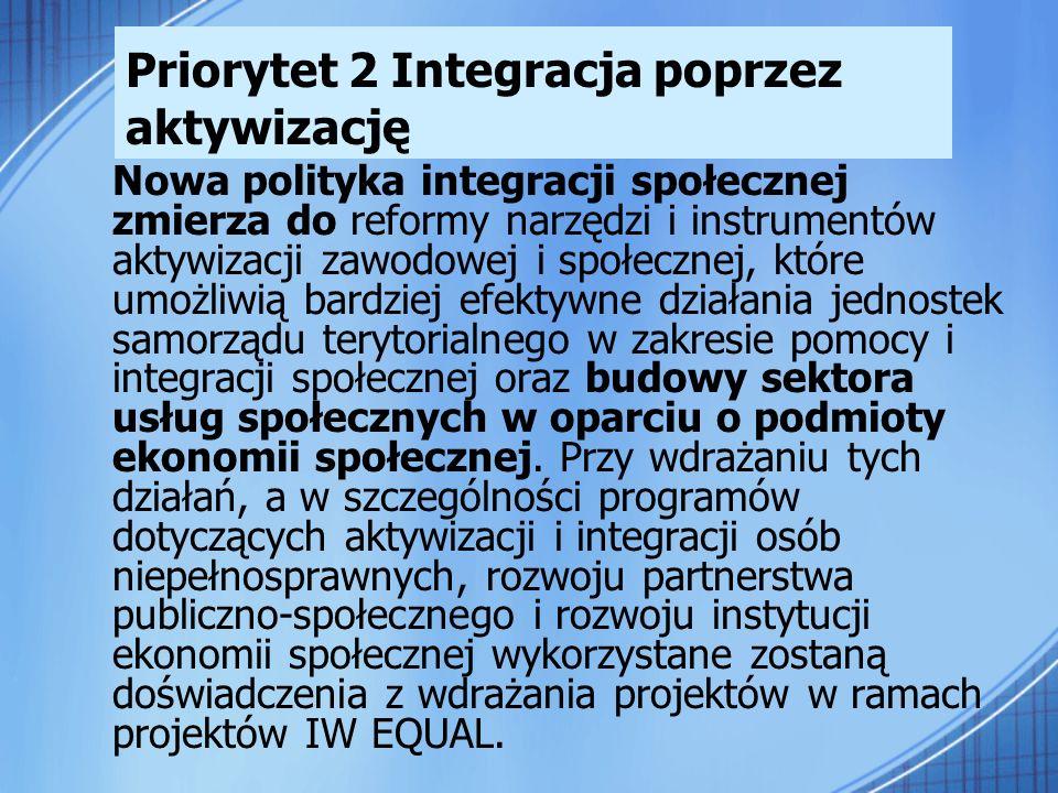 Priorytet 2 Integracja poprzez aktywizację Nowa polityka integracji społecznej zmierza do reformy narzędzi i instrumentów aktywizacji zawodowej i społ