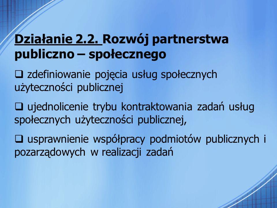 Działanie 2.2. Rozwój partnerstwa publiczno – społecznego zdefiniowanie pojęcia usług społecznych użyteczności publicznej ujednolicenie trybu kontrakt