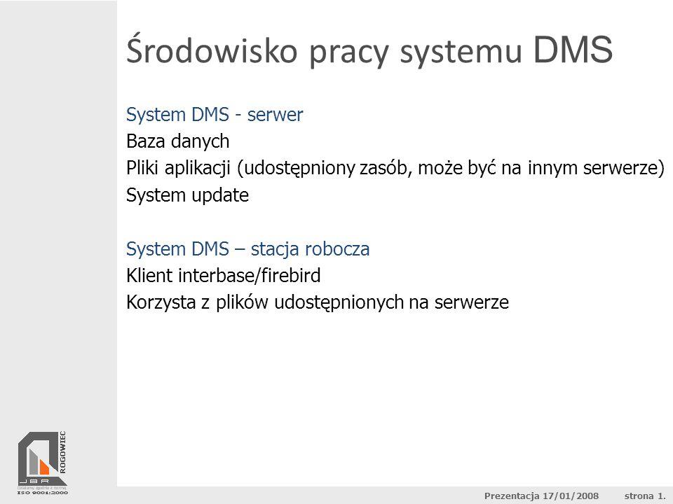 Środowisko pracy systemu DMS System DMS - serwer Baza danych Pliki aplikacji (udostępniony zasób, może być na innym serwerze) System update System DMS
