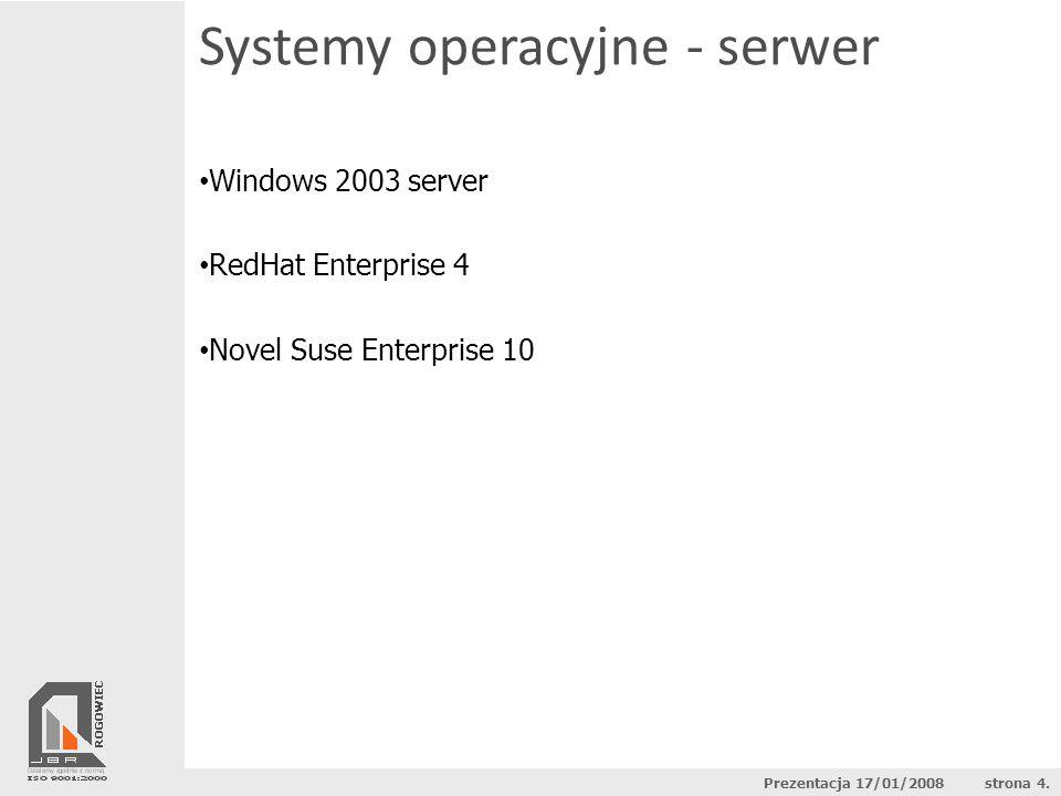 Systemy operacyjne - serwer Windows 2003 server Std RedHat ES 4 (AS4)Suse Linux 10 Maksymalna ilość proc.4 (8)2 (32)128 Maksymalna ilość pamięci4 GB (32GB)16 GB (64 GB)10 TB Koszt zakupu* 4400 zł (12 000 zł)$349 - $1299 ( 1200EUR )rok 290-1245 EUR rok WsparcieTZależne od zakupionej opcji Koszt na 1 użytkownika*102 złBrak *Podane ceny są orientacyjne Prezentacja 17/01/2008 strona 5.