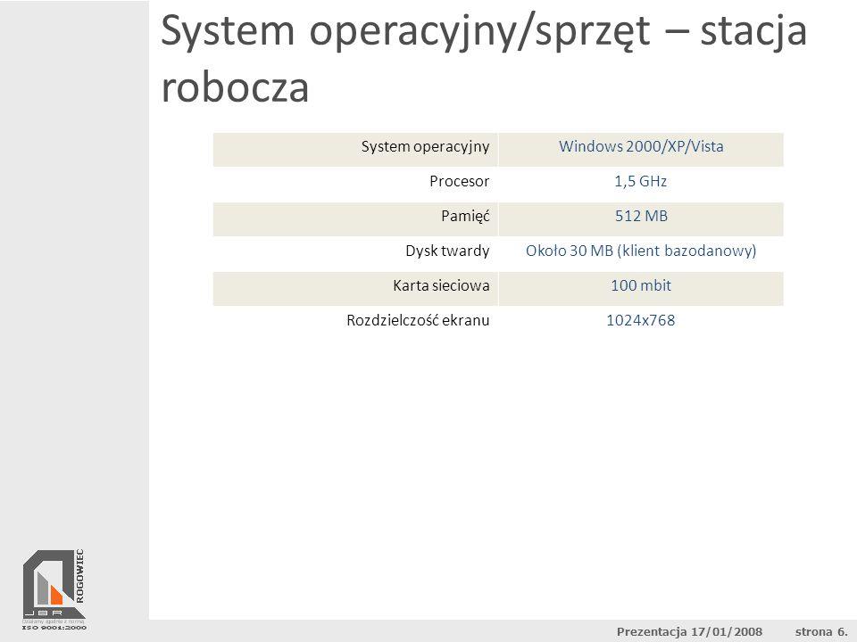 System operacyjny/sprzęt – stacja robocza System operacyjnyWindows 2000/XP/Vista Procesor1,5 GHz Pamięć512 MB Dysk twardyOkoło 30 MB (klient bazodanow