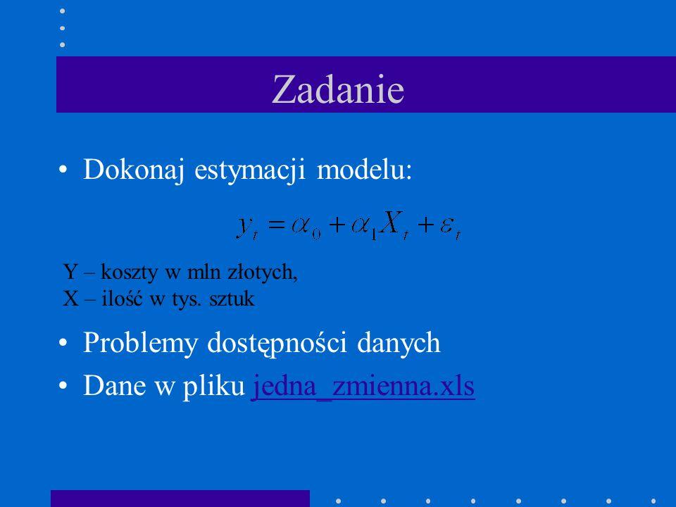 Zadanie Dokonaj estymacji modelu: Problemy dostępności danych Dane w pliku jedna_zmienna.xlsjedna_zmienna.xls Y – koszty w mln złotych, X – ilość w ty