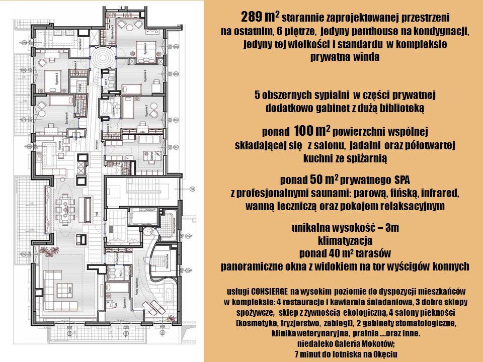 289 m 2 starannie zaprojektowanej przestrzeni na ostatnim, 6 piętrze, jedyny penthouse na kondygnacji, jedyny tej wielkości i standardu w kompleksie p