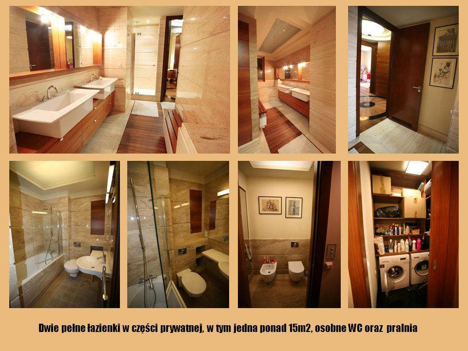 Dwie pełne łazienki w części prywatnej, w tym jedna ponad 15m2, osobne WC oraz pralnia