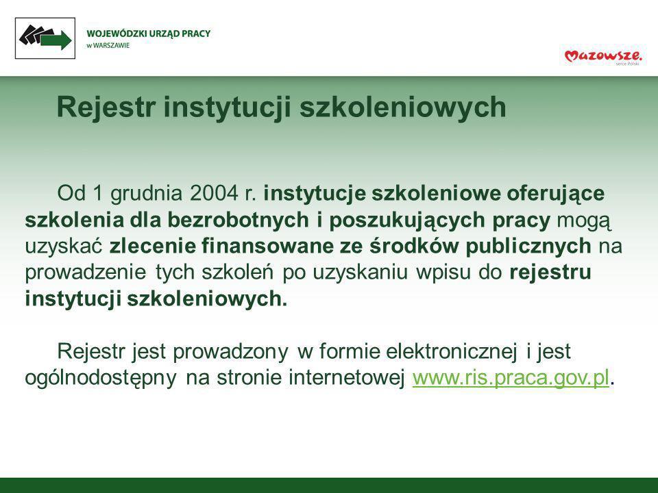 Rejestr instytucji szkoleniowych Od 1 grudnia 2004 r. instytucje szkoleniowe oferujące szkolenia dla bezrobotnych i poszukujących pracy mogą uzyskać z