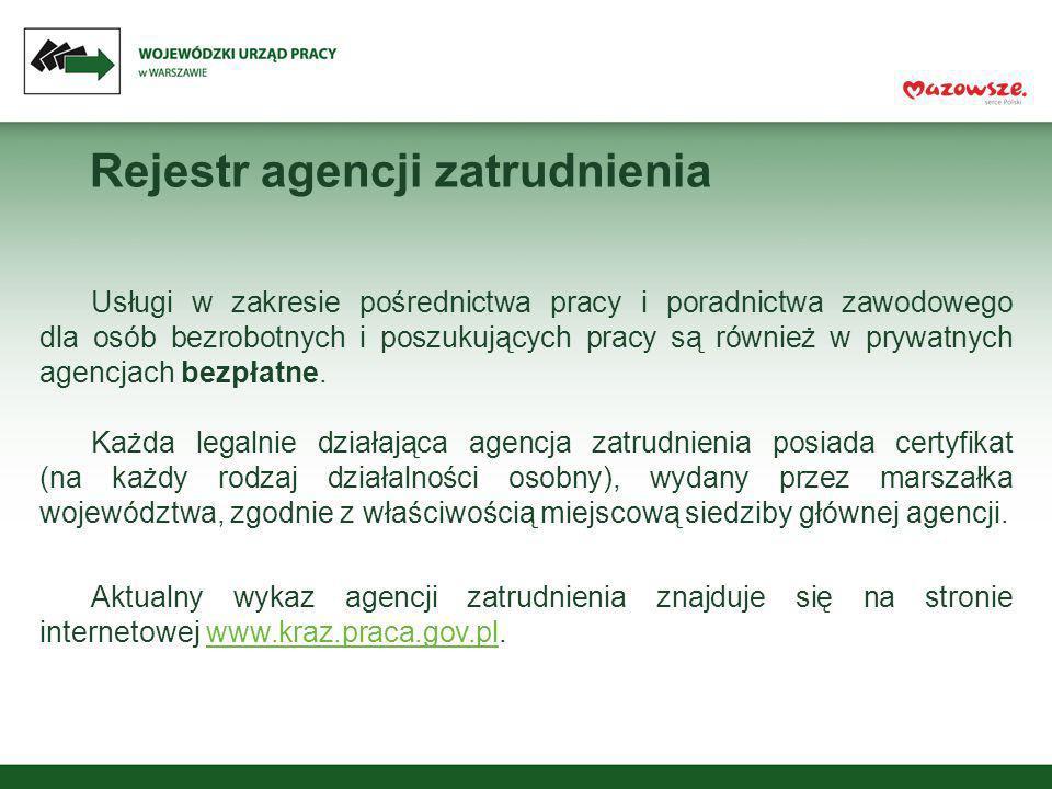 Rejestr agencji zatrudnienia Usługi w zakresie pośrednictwa pracy i poradnictwa zawodowego dla osób bezrobotnych i poszukujących pracy są również w pr