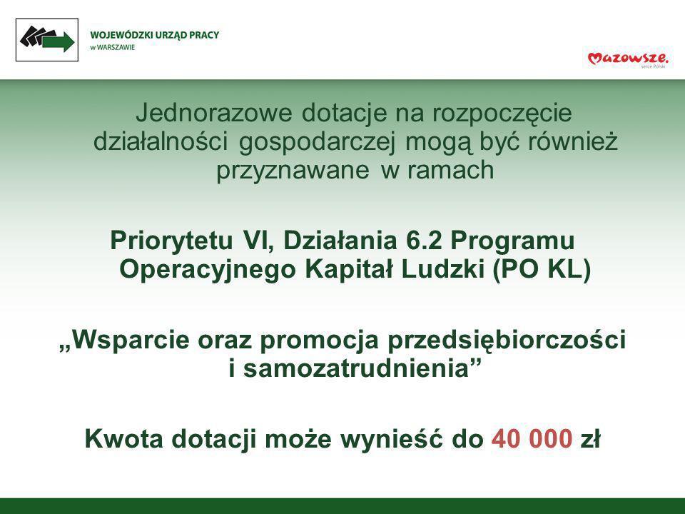 Jednorazowe dotacje na rozpoczęcie działalności gospodarczej mogą być również przyznawane w ramach Priorytetu VI, Działania 6.2 Programu Operacyjnego