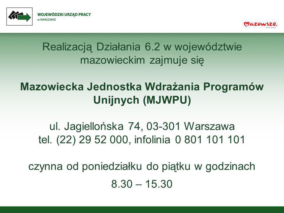 Realizacją Działania 6.2 w województwie mazowieckim zajmuje się Mazowiecka Jednostka Wdrażania Programów Unijnych (MJWPU) ul. Jagiellońska 74, 03-301