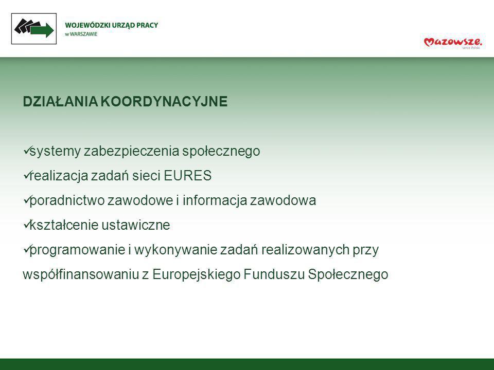 DZIAŁANIA KOORDYNACYJNE systemy zabezpieczenia społecznego realizacja zadań sieci EURES poradnictwo zawodowe i informacja zawodowa kształcenie ustawic