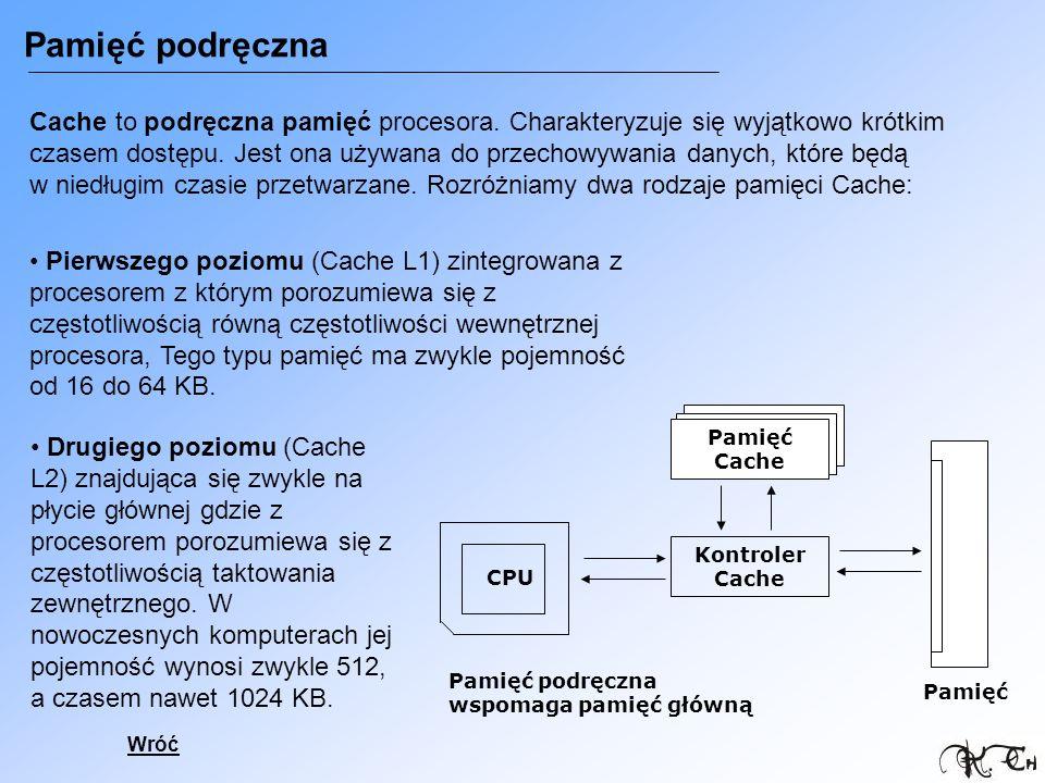 Pamięć podręczna Cache to podręczna pamięć procesora. Charakteryzuje się wyjątkowo krótkim czasem dostępu. Jest ona używana do przechowywania danych,