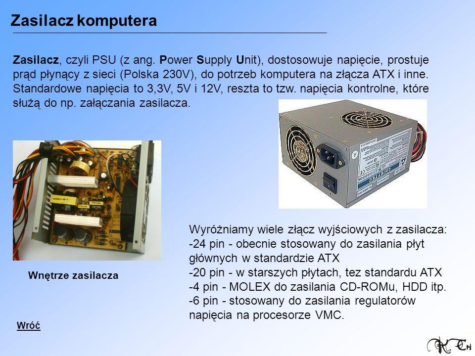Zasilacz komputera Zasilacz, czyli PSU (z ang. Power Supply Unit), dostosowuje napięcie, prostuje prąd płynący z sieci (Polska 230V), do potrzeb kompu