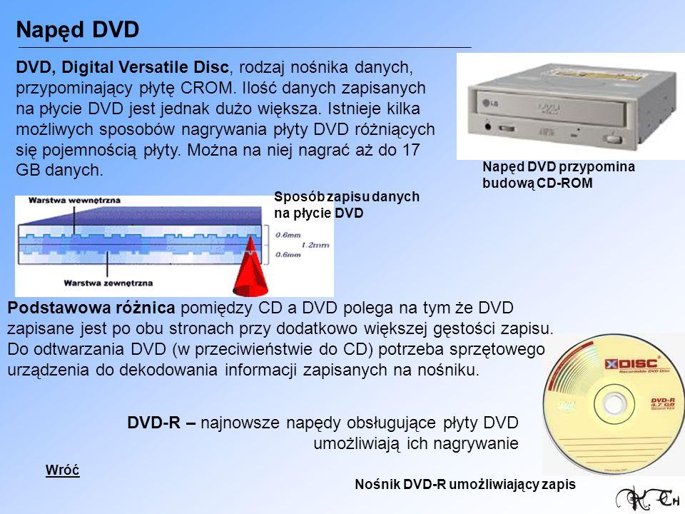 Napęd DVD DVD-R – najnowsze napędy obsługujące płyty DVD umożliwiają ich nagrywanie Napęd DVD przypomina budową CD-ROM Nośnik DVD-R umożliwiający zapi