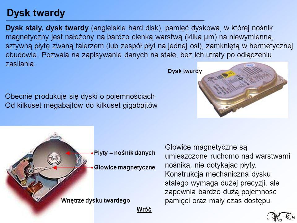 Dysk twardy Dysk stały, dysk twardy (angielskie hard disk), pamięć dyskowa, w której nośnik magnetyczny jest nałożony na bardzo cienką warstwą (kilka