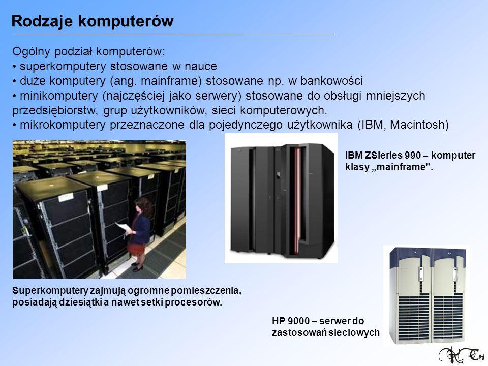 Rodzaje komputerów Ogólny podział komputerów: superkomputery stosowane w nauce duże komputery (ang. mainframe) stosowane np. w bankowości minikomputer