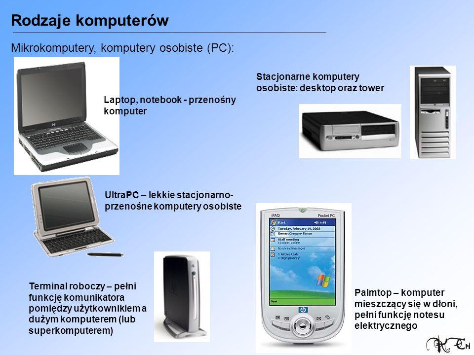 Rodzaje komputerów Mikrokomputery, komputery osobiste (PC): Stacjonarne komputery osobiste: desktop oraz tower Laptop, notebook - przenośny komputer U