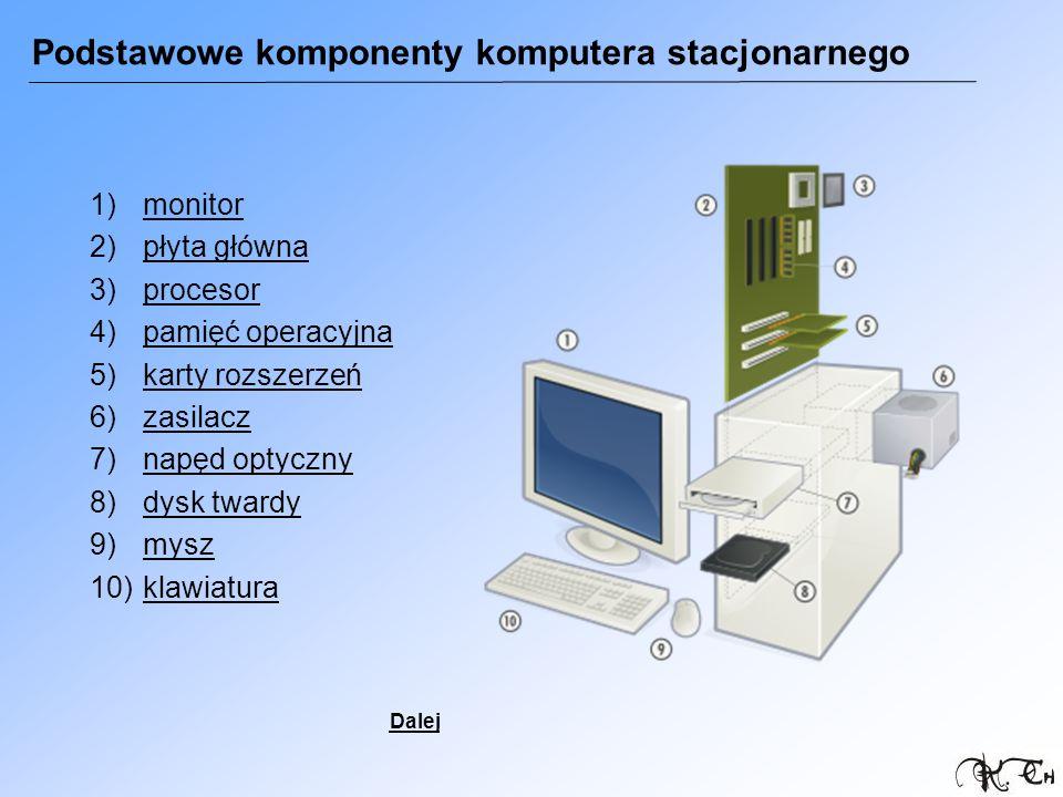 Podstawowe komponenty komputera stacjonarnego 1)monitormonitor 2)płyta głównapłyta główna 3)procesorprocesor 4)pamięć operacyjnapamięć operacyjna 5)ka
