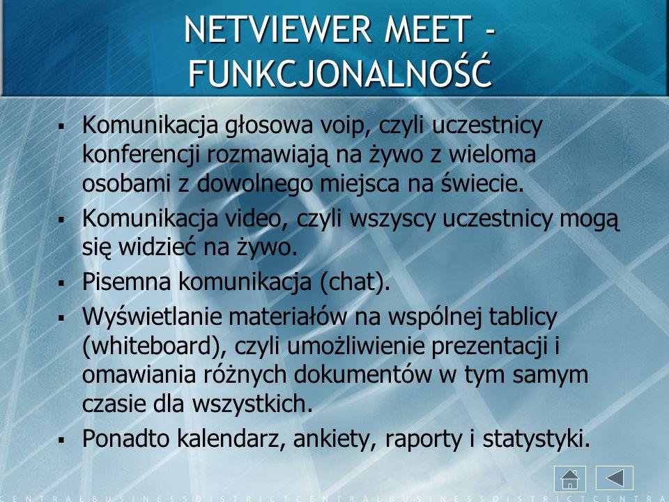 NETVIEWER MEET - FUNKCJONALNOŚĆ Komunikacja głosowa voip, czyli uczestnicy konferencji rozmawiają na żywo z wieloma osobami z dowolnego miejsca na świ