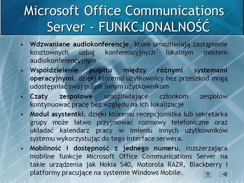 Microsoft Office Communications Server - FUNKCJONALNOŚĆ Wdzwaniane audiokonferencje, które umożliwiają zastąpienie kosztownych usług konferencyjnych l