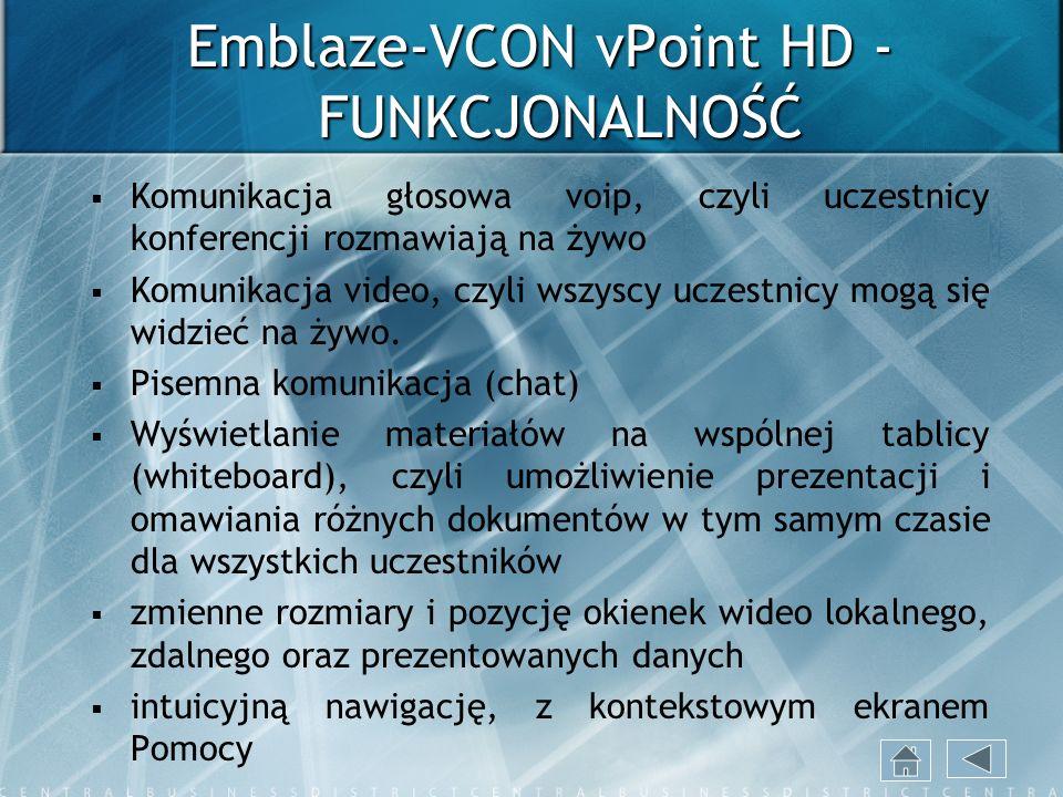 Emblaze-VCON vPoint HD - FUNKCJONALNOŚĆ Komunikacja głosowa voip, czyli uczestnicy konferencji rozmawiają na żywo Komunikacja video, czyli wszyscy ucz