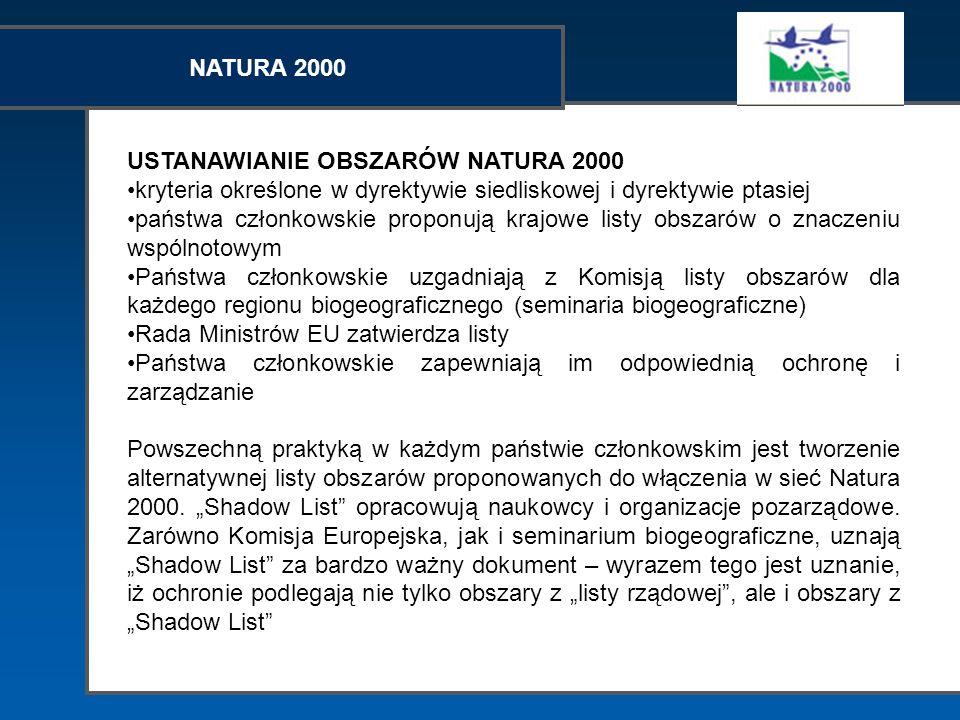 NATURA 2000 USTANAWIANIE OBSZARÓW NATURA 2000 kryteria określone w dyrektywie siedliskowej i dyrektywie ptasiej państwa członkowskie proponują krajowe