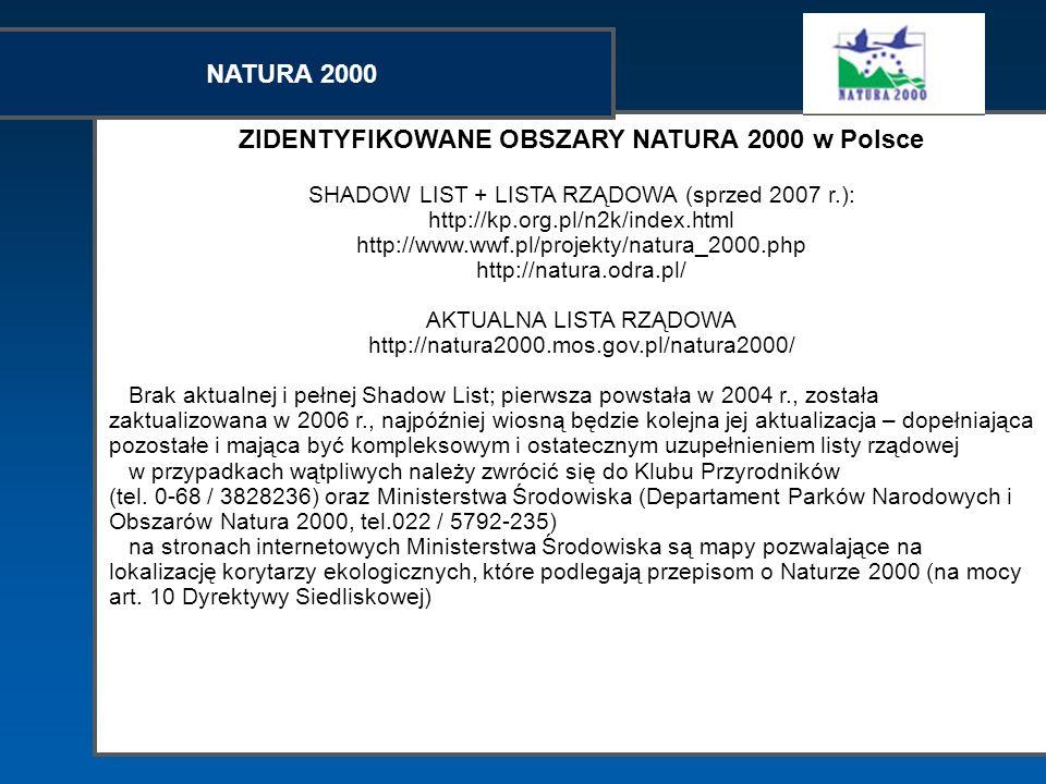 ZIDENTYFIKOWANE OBSZARY NATURA 2000 w Polsce SHADOW LIST + LISTA RZĄDOWA (sprzed 2007 r.): http://kp.org.pl/n2k/index.html http://www.wwf.pl/projekty/