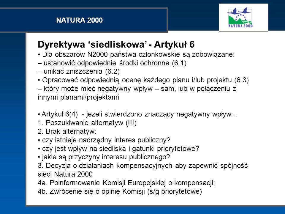 NATURA 2000 Dyrektywa siedliskowa - Artykuł 6 Dla obszarów N2000 państwa członkowskie są zobowiązane: – ustanowić odpowiednie środki ochronne (6.1) –