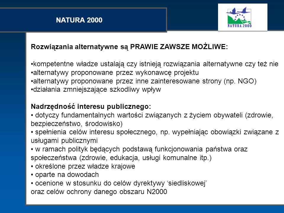 NATURA 2000 Rozwiązania alternatywne są PRAWIE ZAWSZE MOŻLIWE: kompetentne władze ustalają czy istnieją rozwiązania alternatywne czy też nie alternaty