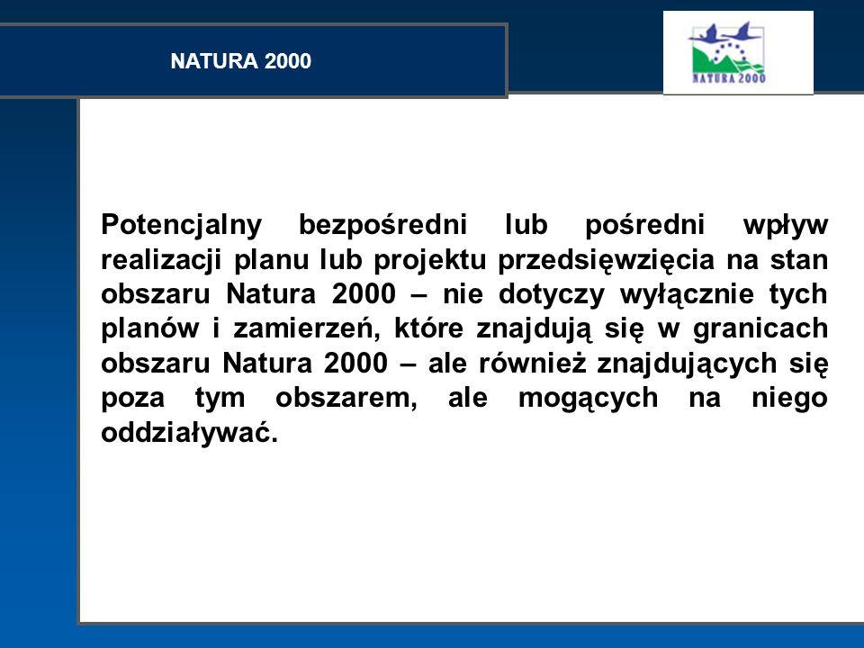 NATURA 2000 Potencjalny bezpośredni lub pośredni wpływ realizacji planu lub projektu przedsięwzięcia na stan obszaru Natura 2000 – nie dotyczy wyłączn