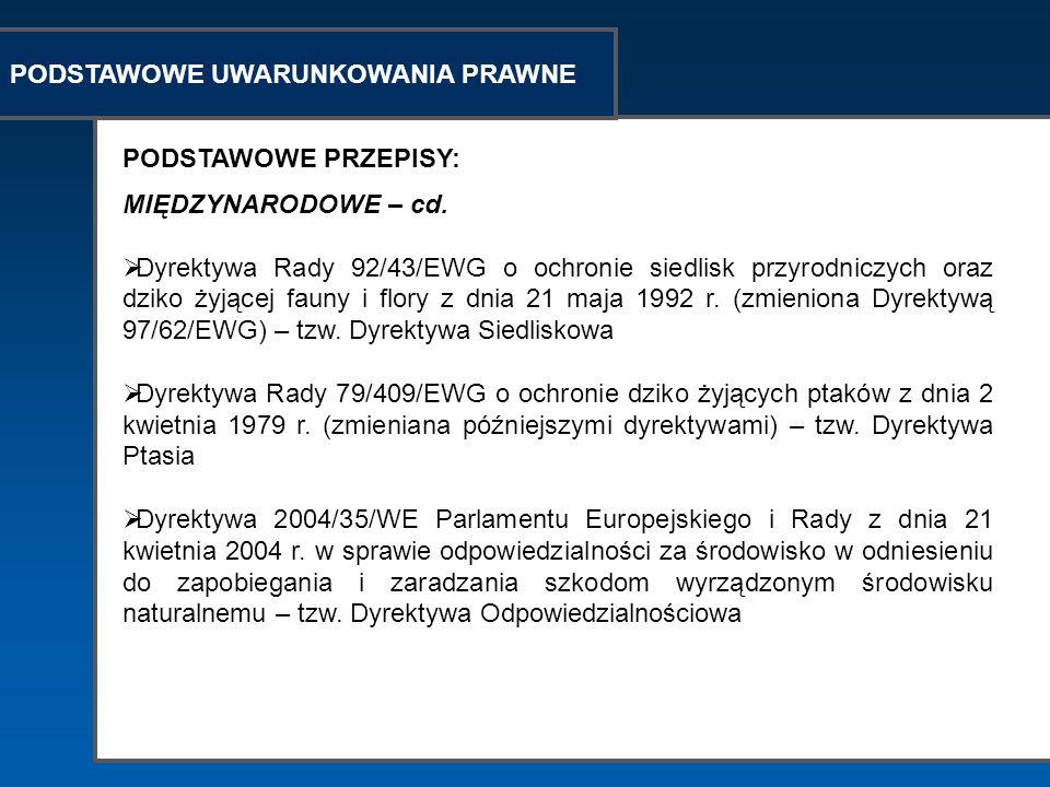 PODSTAWOWE UWARUNKOWANIA PRAWNE PODSTAWOWE PRZEPISY: MIĘDZYNARODOWE – cd. Dyrektywa Rady 92/43/EWG o ochronie siedlisk przyrodniczych oraz dziko żyjąc