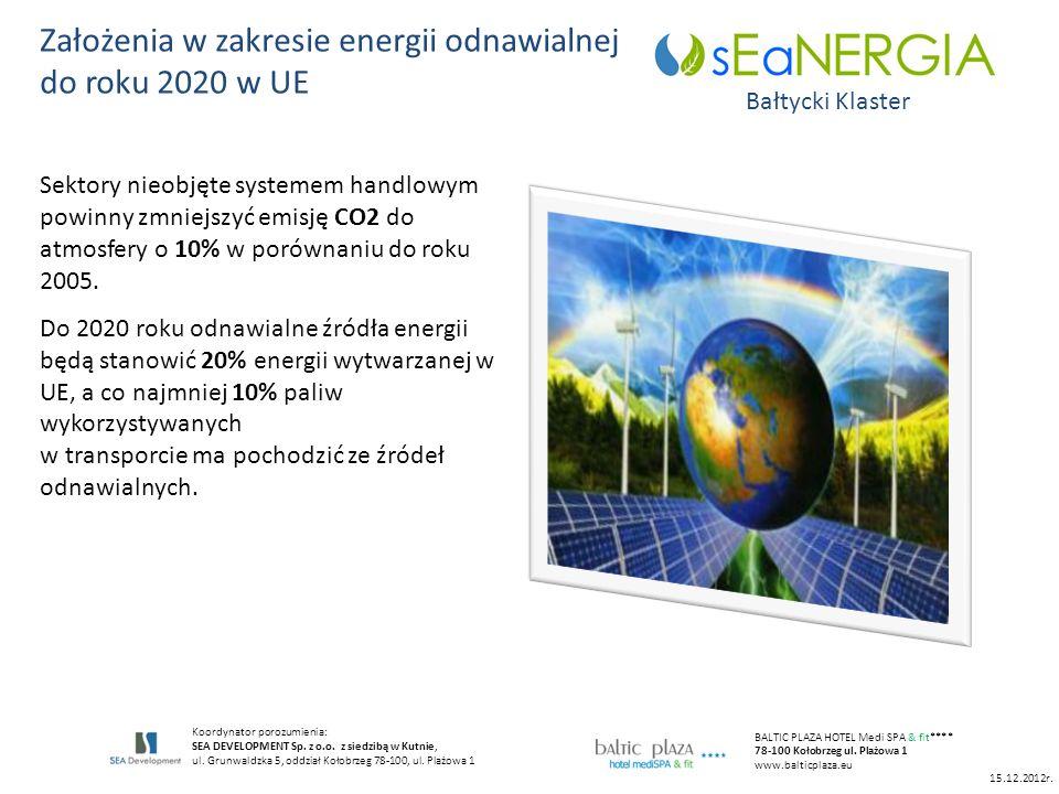 15.12.2012r. Założenia w zakresie energii odnawialnej do roku 2020 w UE Bałtycki Klaster Koordynator porozumienia: SEA DEVELOPMENT Sp. z o.o. z siedzi