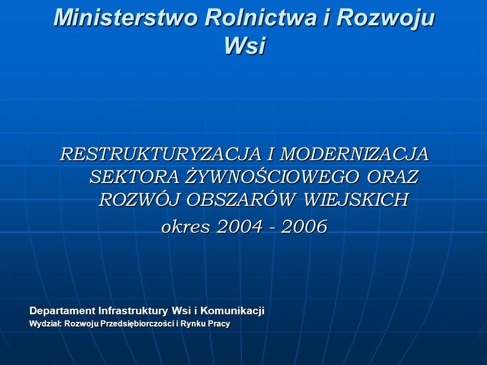 Ministerstwo Rolnictwa i Rozwoju Wsi RESTRUKTURYZACJA I MODERNIZACJA SEKTORA ŻYWNOŚCIOWEGO ORAZ ROZWÓJ OBSZARÓW WIEJSKICH okres 2004 - 2006 Departament Infrastruktury Wsi i Komunikacji Wydział: Rozwoju Przedsiębiorczości i Rynku Pracy