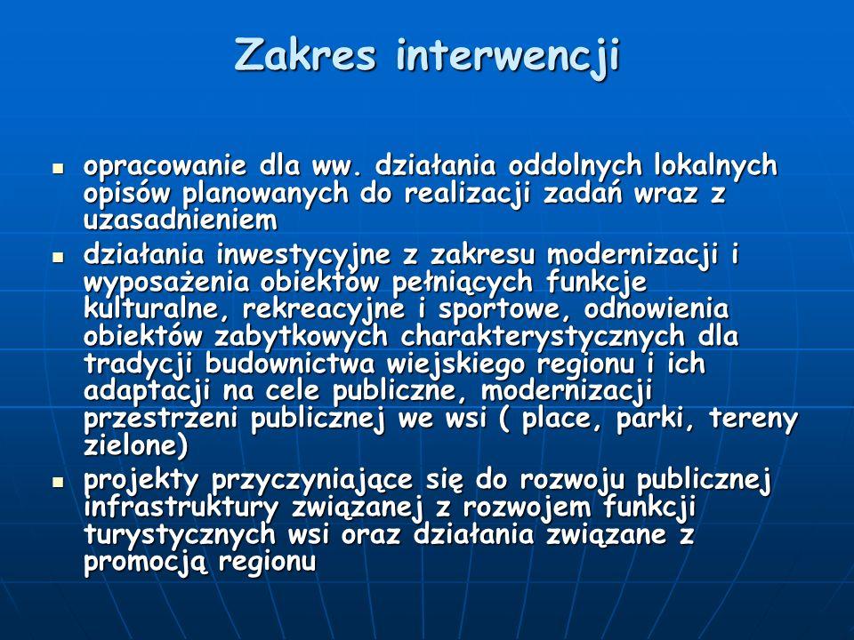 Zakres interwencji opracowanie dla ww. działania oddolnych lokalnych opisów planowanych do realizacji zadań wraz z uzasadnieniem opracowanie dla ww. d