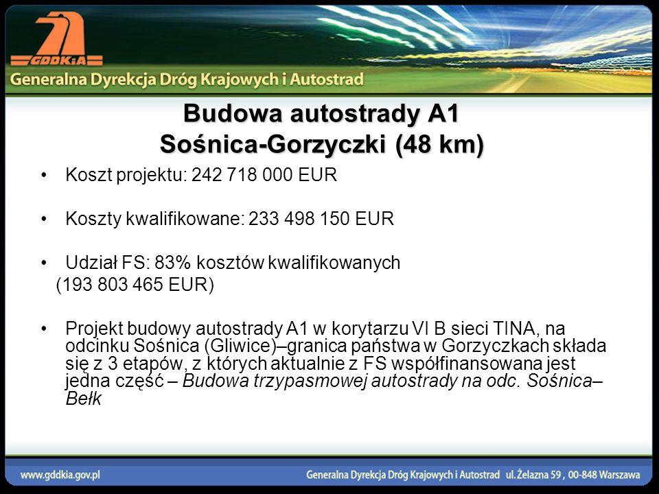 Budowa autostrady A1 Sośnica-Gorzyczki (48 km) Koszt projektu: 242 718 000 EUR Koszty kwalifikowane: 233 498 150 EUR Udział FS: 83% kosztów kwalifikow