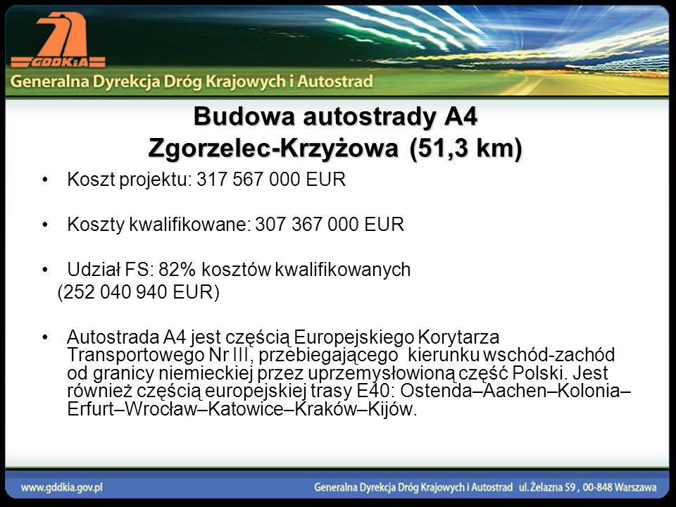 Budowa autostrady A4 Zgorzelec-Krzyżowa (51,3 km) Koszt projektu: 317 567 000 EUR Koszty kwalifikowane: 307 367 000 EUR Udział FS: 82% kosztów kwalifi