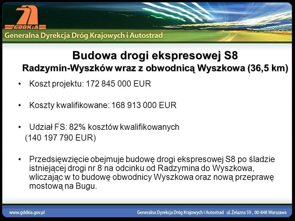 Budowa drogi ekspresowej S8 Radzymin-Wyszków wraz z obwodnicą Wyszkowa (36,5 km) Koszt projektu: 172 845 000 EUR Koszty kwalifikowane: 168 913 000 EUR