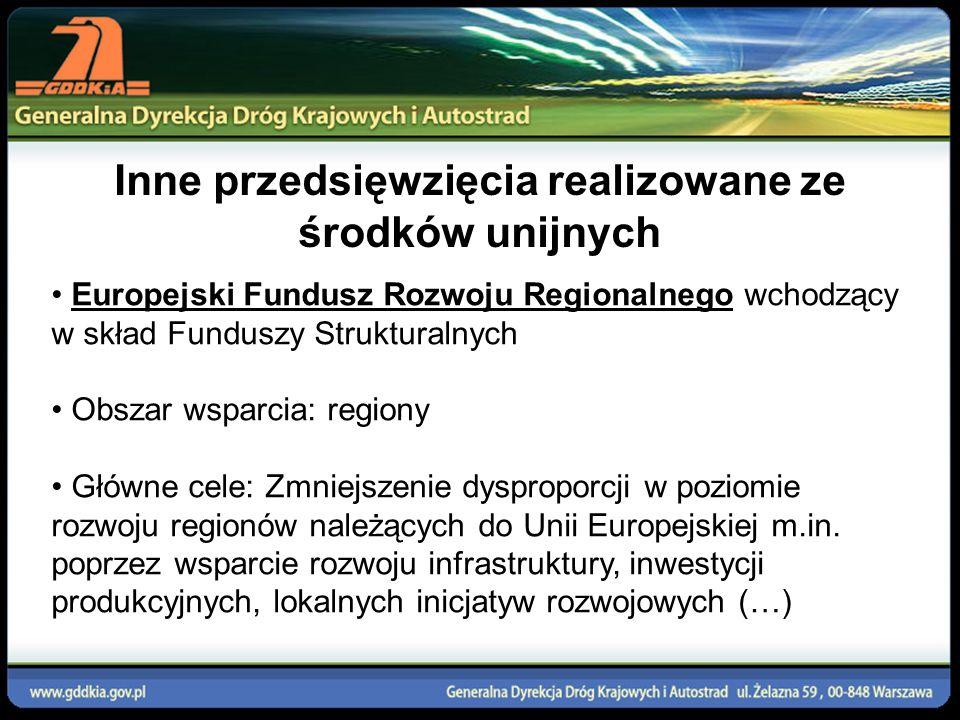Inne przedsięwzięcia realizowane ze środków unijnych Europejski Fundusz Rozwoju Regionalnego wchodzący w skład Funduszy Strukturalnych Obszar wsparcia