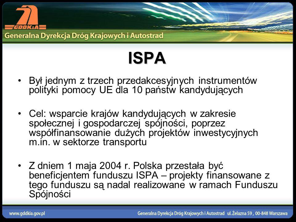ISPA Był jednym z trzech przedakcesyjnych instrumentów polityki pomocy UE dla 10 państw kandydujących Cel: wsparcie krajów kandydujących w zakresie sp