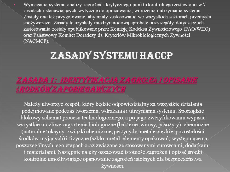Wymagania systemu analizy zagrożeń i krytycznego punktu kontrolnego zestawiono w 7 zasadach ustanawiających wytyczne do opracowania, wdrożenia i utrzy