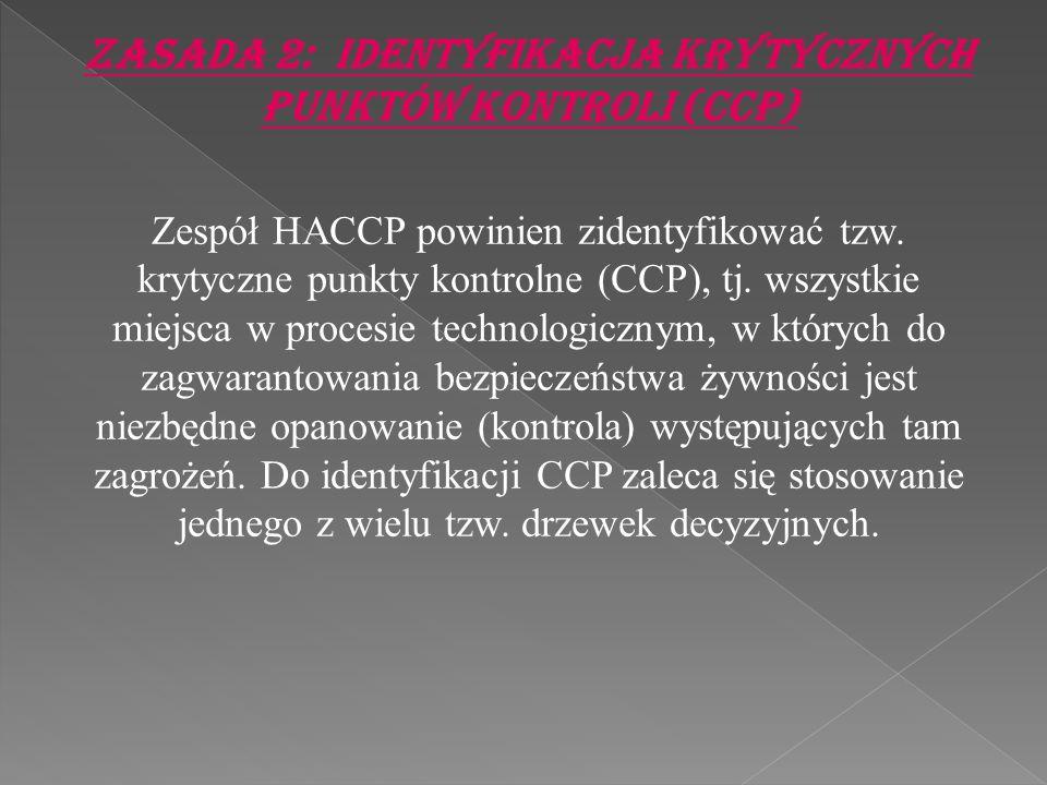 Zasada 2: Identyfikacja krytycznych punktów kontroli (CCP) Zespół HACCP powinien zidentyfikować tzw. krytyczne punkty kontrolne (CCP), tj. wszystkie m