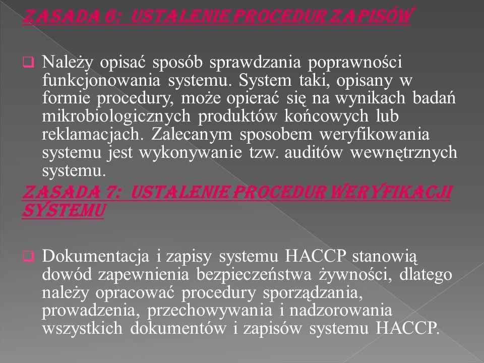 Zasada 6: Ustalenie procedur zapisów Należy opisać sposób sprawdzania poprawności funkcjonowania systemu. System taki, opisany w formie procedury, moż
