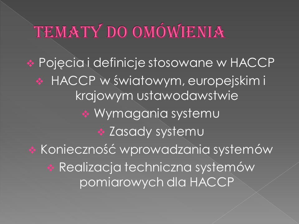 Pojęcia i definicje stosowane w HACCP HACCP w światowym, europejskim i krajowym ustawodawstwie Wymagania systemu Zasady systemu Konieczność wprowadzan